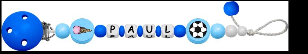 Dunkelblaue Schnullerkette für Jungen mit Fussball Motiv