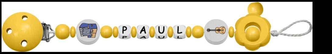 Gelbe Schnullerkette für Jungen mit Gitarrenmotiv