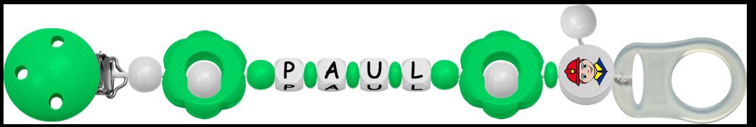 Grüne Schnullerkette für Jungen mit dem Namen Paul