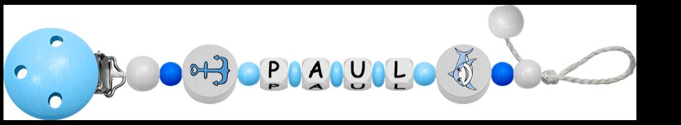 hellblaue Schnullerkette für Jungen mit Anker Motiv
