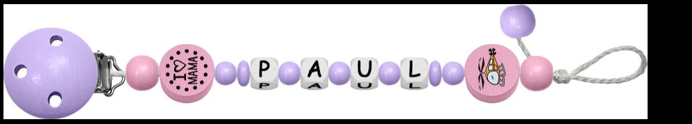Rosa Schnullerkette für Jungen mit Perlen und dem Namen Paul