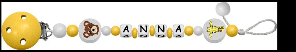 Gelbe Schnullerkette für Mädchen mit Tiermotiven