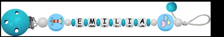 blaue Schnullerkette mit Namen Emilia