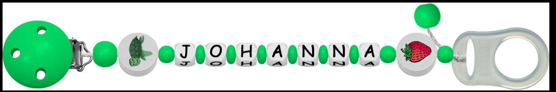 grüne Schnullerkette mit Namen Johanna