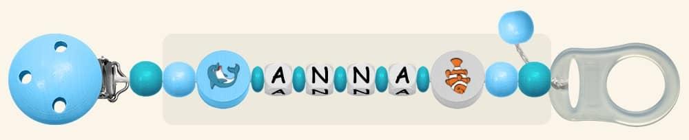 Schnullerkette für Mädchen Anna in Hellblau