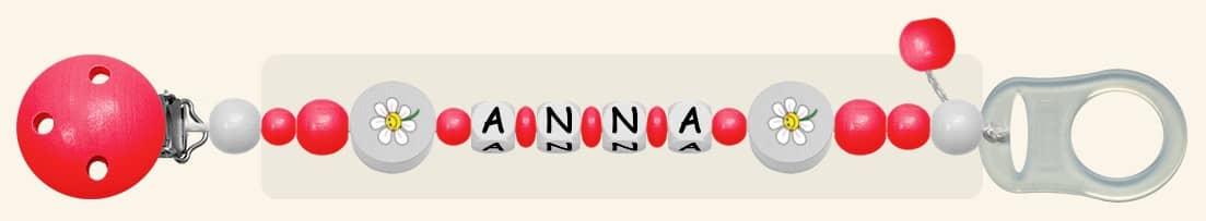 Schnullerkette für Mädchen Anna in Rot