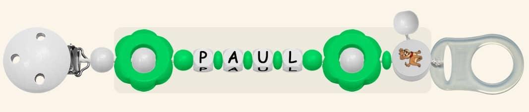Schnullerkette mit Namen für Jungen Paul Grün