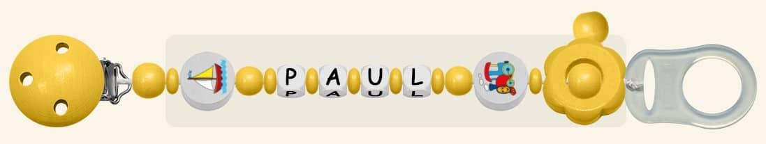 Schnullerketten für Jungen Paul in Gelb